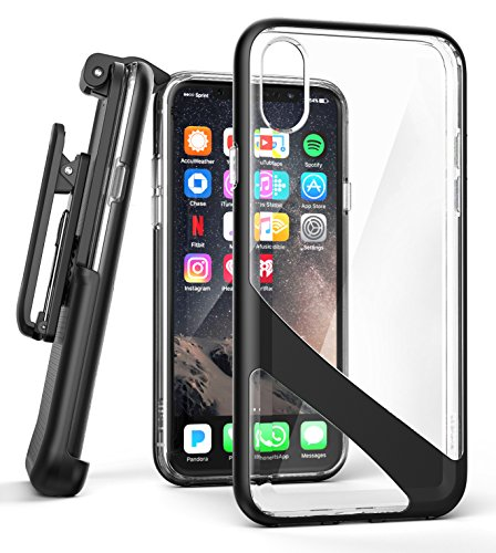 iPhone-X-Belt-Clip-Case-w-Screen-Protector-Encased-Reveal-Series-Premium-Clear-Back-Cover-with-Holster-Clip-for-Apple-iPhoneX-2017-Release-Crystal-Black