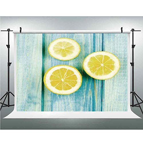 Yellow and Blue,Less Crease Backdrop Background,10x20ft,Juicy Lemon Slices on Old Wooden Planks Porch Summer Refreshing ()