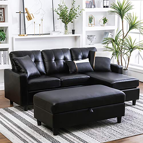 HONBAY Convertible Sectional Sofa with Ottoman L Shape Sleeper Sofa with Ottoman Faux Leather Couch Set with Chaise, Black