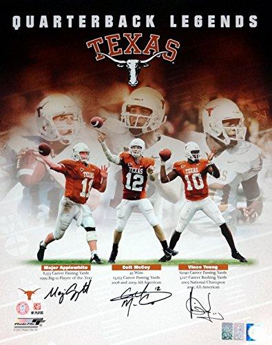 Vince Young, Colt McCoy & Major Applewhite Autographed 16x20 Photo Texas Longhorns Quarterbacks VY & CM (Texas Longhorns 2006 Rose)