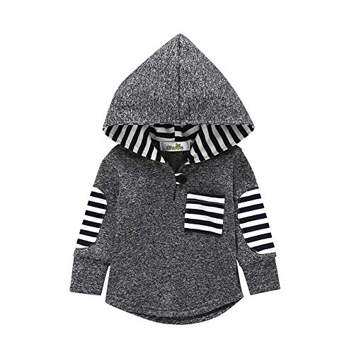 KONFA Toddler Baby Boys Girls Stylish Plaid Floral Pocket Hooded Coat,Kids Jackets Stretchy Cloak Tops Clothes (Dark Grey, 12-18 Months) ()