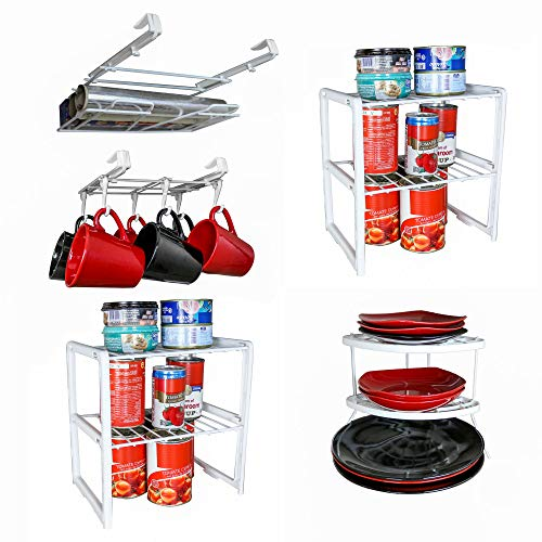 - 5 Pieces Cabinet Organizer Set - 1 Undershelf Placemat and Wrap Holder, 1 Undershelf Mug Rack, 2 Double Cabinet Shelf, 1 Corner Plate Rack