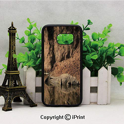 Nile Crocodile Swimming in The River Rock Cliffs Tanzania Hunter Geography 2D Printing of Samsung S7 Case Black Soft TPU and PC Protection Anti-Slippery Case for Samsung S7 Brown Tan