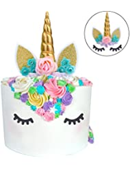 Unicorn Cake Topper Unicorn Party Supplies Unicorn Horn Ears Unicorn Party Decoration with Flowers for Unicorn Themed Party,Birthday Party (Flowers Unicorn Cake Topper with Eyelashes-Gold)