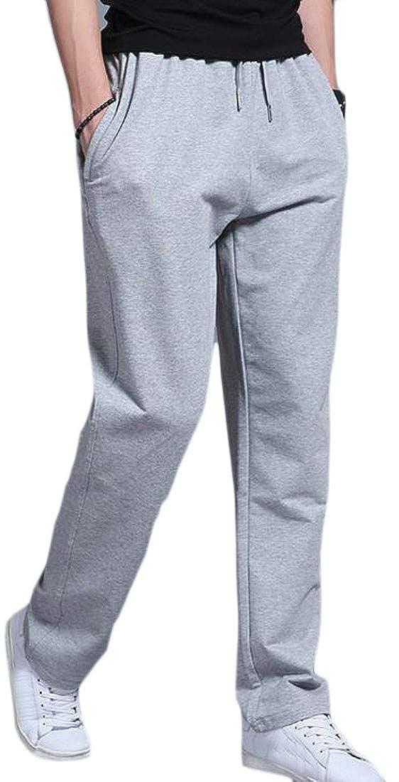 Hajotrawa Men Solid Color Elastic Waist Straight Fit Breathable Sport Pants
