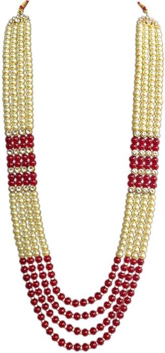 Dule Ki Mala Indian Embellished Premium Long Kundan and Pearl Bead Jewelry Necklace Pearl MenGroom