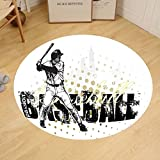 Gzhihine Custom round floor mat Sports Decor Composite Double Exposure Image of A Soccer Player and American Flag National Usa Run Bedroom Living Room Dorm Decor Beige Blue Red