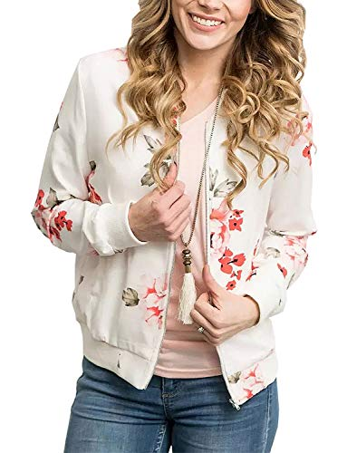 Floral Coat Silk (Women's Casual Long Sleeve Flower Print Zip Up Slim Fit Stand Collar Short Bomber Jacket Coat(White, 3XL))