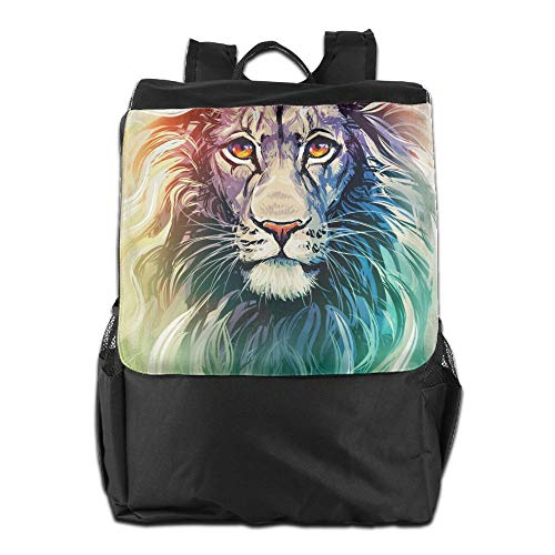 Travel Backpacks Eautiful Lion Face Colors Style Watercolor Painting Bookbag Polyester Multifunction -