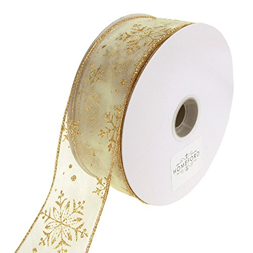 Homeford Glitter Snowflake Organza Wired Christmas Holiday Ribbon, 2-1/2-Inch, 50 Yards (Ivory/Gold) (Ivory Ribbon Organza Wired)