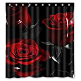 Custom Fire Red Rose And Black Leaves Bathroom Shower Curtain, Shower Rings Included 100% Polyester Waterproof Shower Curtain 66x72 Inches
