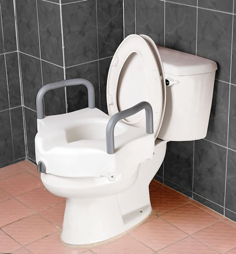 Raised Toilet Seat - Blow molded locking raised toilet seat with arms has front clamping mechanism ensures secure easy locking onto toilet. Arm height 6''. Arm width 20''. Weight capacity of 300lbs.