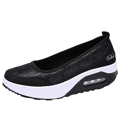 d991ccf92 Sunyastor Women Flat Shoes Air Cushion Platform Slip Sport Comfy Soft Slip-On  Casual Boat