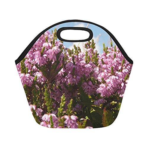 - Insulated Neoprene Lunch Bag Heather Plant Switches Flower Blossom Bloom Pink Large Size Reusable Thermal Thick Lunch Tote Bags For Lunch Boxes For Outdoors,work, Office, School