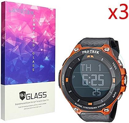 Casio WSD F20 – Protector de pantalla, tanque lamshaw 9H vidrio templado Protector de pantalla de cristal Protector de pantalla para Casio Smart Watch WSD ...