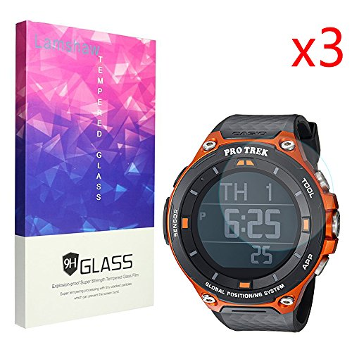 Lamshaw Screen Protector, 9H Tempered Glass Screen Protector for CASIO Smart Watch WSD-F20 Protrek Smart (glass) by Lamshaw