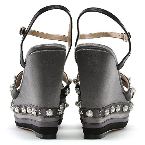 Black Wedge Sandals Leather Embellished Daniel Pentra qwIa5xY