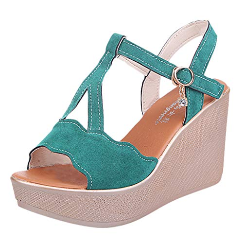 (Seaintheson Women's Casual Wedges Shoes Summer Fish Mouth Open Toe Breathable Beach Sandals Rome Buckle Strap Flat Sandals Green)