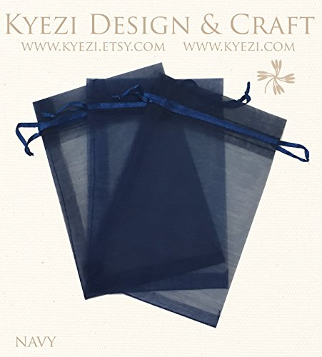 (50 Pcs Navy 3x4 Sheer Drawstring Organza Bags Jewelry Pouches Wedding Party Favor Gift Bags Gift Bags Candy Bags [Kyezi Design and)