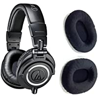 Audio-Technica ATH-M50x Professional Studio Monitor Headphones with FREE Black velvet earpads