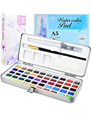 PACETAP Watercolor Painting Set, 50 Vibrant Colors Gouache Watercolor Kit with 24-Sheet 160g Sketchpad, Water Brush within Metal Box for Children and Adults