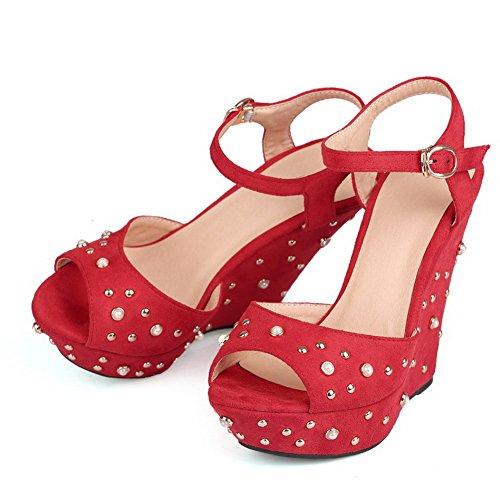 AllhqFashion Womens Solid Imitated Suede High-Heels Peep Toe Buckle Sandals Red xBNN9m