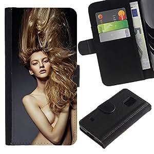All Phone Most Case / Oferta Especial Cáscara Funda de cuero Monedero Cubierta de proteccion Caso / Wallet Case for Samsung Galaxy S5 V SM-G900 // Blond Hair Naked Woman