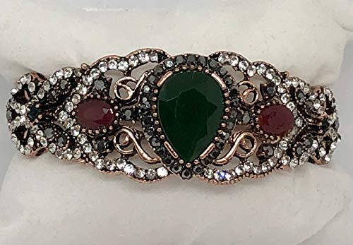(Turkish, Bohemian Created Pear Shape Emerald with Ruby & Emerald & Rhinestone Accents, Copper, Bangle Hinged Bracelet, Boho Jewelry, Women's Costume Jewelry, Festival Jewelry Gift, 8 1/2 Inch,)