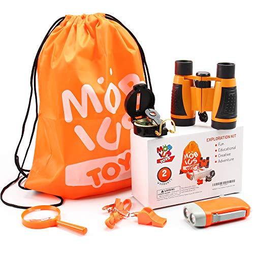 Outdoor Exploration Kit, Kids Camping Set, Adventure Kit Outdoor Toys For Boys and Girls, Educational Pretend Play Gift Set with Toy Binoculars, Flashlight, Compass, Whistle, Magnifying Glass, Backpac