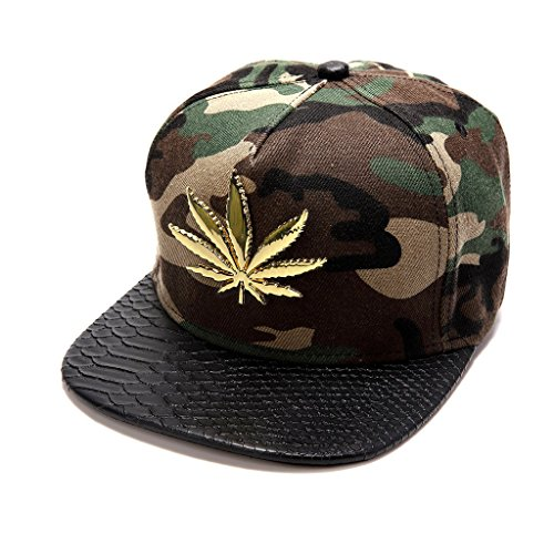 MCSAYS New Trend Gold Plated Marijuana leaf Flat Brim Hip Hop Cotton Unisex Baseball Cap/Hats Snapback Sun Hat, Camouflage