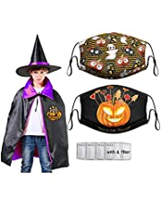 Halloween Costume Wizard Cape Hat Set with 2PCS Face Mask Adjustable Washable Masks Cover for Kids