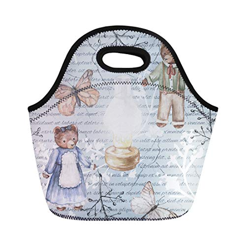 Semtomn Neoprene Lunch Tote Bag Blue Pattern Kerosene Lamp Butterflies Twigs and Bears Watercolor Reusable Cooler Bags Insulated Thermal Picnic Handbag for Travel,School,Outdoors, Work