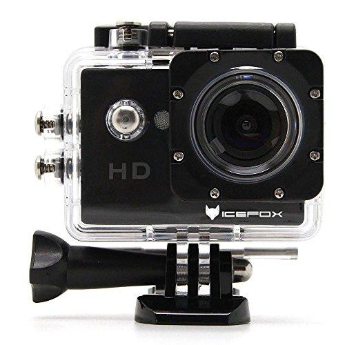 icefox® FHD Unterwasser-Action-Kamera, 12MP, 1080P, wasserdichte HD-Kamera mit 170° Weitwinkel, 1,5 Zoll-Display, 900mAh Batterie und Zubehör-Kitt für zum Tauchen, zumFahrrad fahren, zum Motorrad fahren und zum Schwimmen (Schwarz)