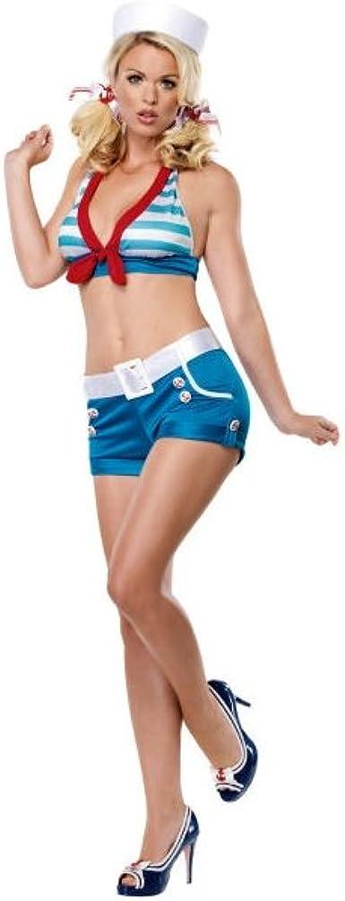 Leg Avenue - Disfraz de Pin Up de la Marina, Azul, Rojo y Blanco ...