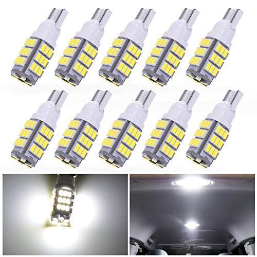 YINTATECH T10 Wedge 42-SMD LED Pure White Backup Reverse Interior Light Bulbs 168 192 2825 194 921 (Pack of 10)