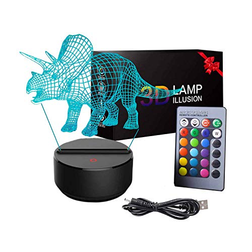 3-12 Year Old Boy Gifts, 3D Dinosaur Night Light with Remote Control and Smart Touch 2 3 4 5 6-12 Year Old Boy Toys Birthday Xmas Gifts for Girls Boys Triceratops
