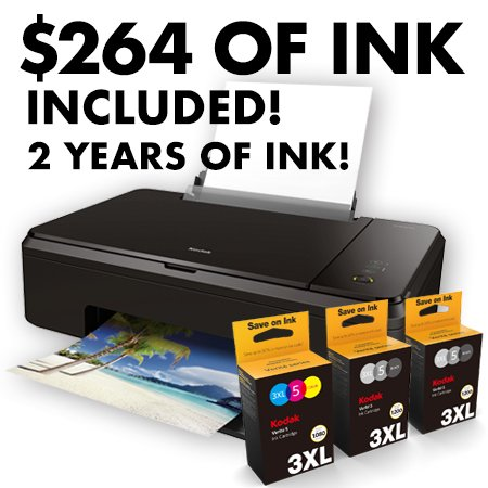 Kodak Verite Wireless Color Photo Inkjet Printer with Scanner & Copier and XL Ink Bundle (V65MEGA3ECO/37) by Kodak
