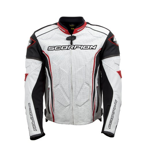 ScorpionExo Clutch Men's Leather Sport Motorcycle Jacket (White/Red, XX-Large)
