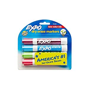 Expo 2 Low-Odor Dry Erase Markers, Chisel Tip, 4-Pack, Fashion Colors (81029)
