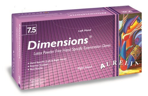 Aurelia Dimensions Latex Glove, Powder Free, 9.4 Length, 5 mils Thick, Small (Pack of 10) by Aurelia by Aurelia