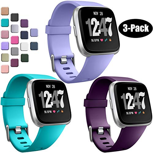 Wepro Bands Compatible with Fitbit Versa SmartWatch, Watch Replacement Band for Women Men Kids, Small, 3 Pack, Periwinkle, Teal, Plum