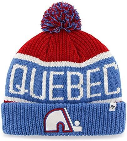'47 Brand Calgary Cuff Beanie Hat with POM POM - NHL Hockey Fashion Cuffed Winter Knit Toque Cap