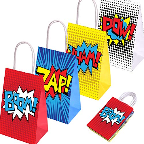 JOYET Superhero Party Supplies Favors, Superhero Party Bags For Superhero Theme Birthday Party Decorations Set of 16 (4 Colors)