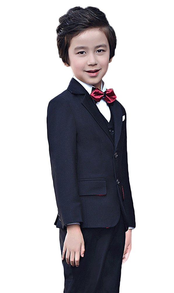 SK Studio Boys' 4 Piece Dress Party Wedding Suits With Bow Tie Black