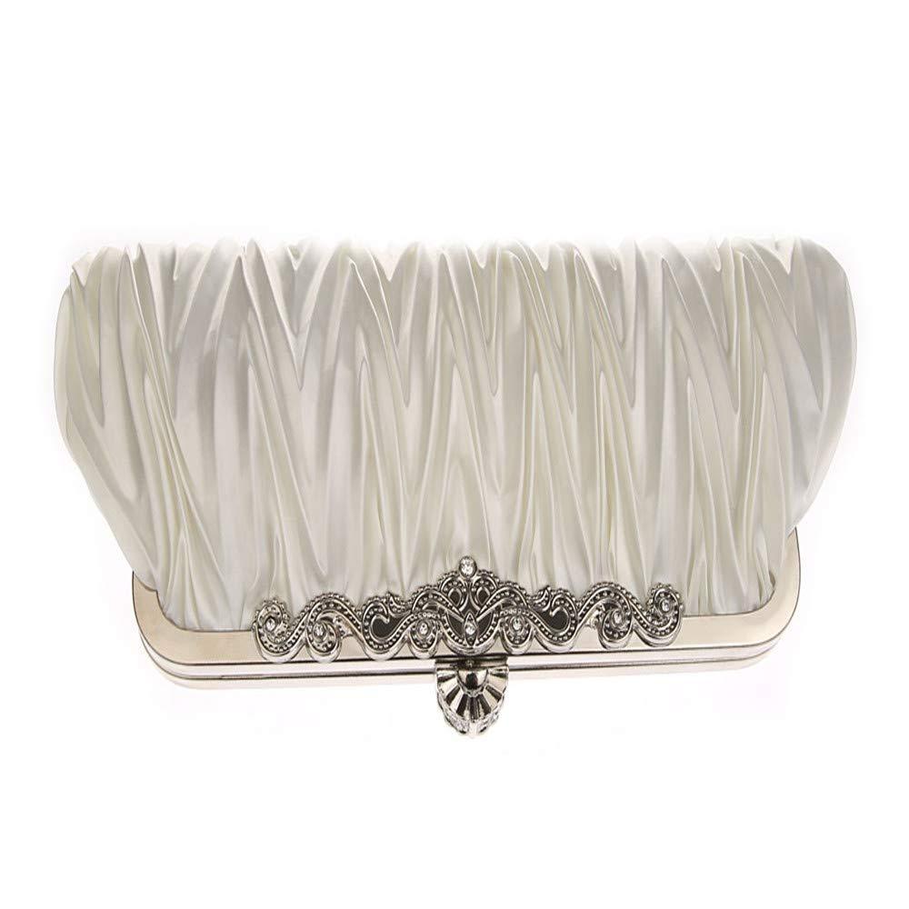 d0a068305329f8 Damenhandtaschen Farbe : White AHIMITSU Tote Abendtasche und Clutch für  Frauen Classic Satin Plissee Hochzeit Handtasche für Frauen Clutches