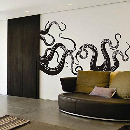 DigTour WallArt Vinyl Kraken Wall Decal Octopus Tentacles Wall Sticker Sea Monster Decals Squid Wall Graphic Mural Home Art Decor Black
