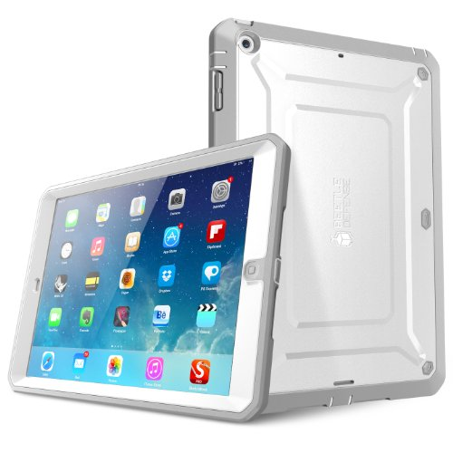 iPad Air Case, SUPCASE Heavy Duty Beetle Defense Series Full-body Rugged Hybrid Protective Case Cover with Built-in Screen Protector for Apple iPad Air (White/Gray, not fit iPad Air 2)