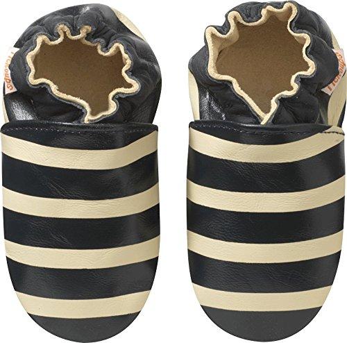Tichoups chaussons bébé cuir souple marcel rayé marine