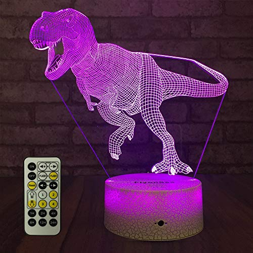 (FlyonSea Dinosaur Light,Dinosaur Nihgt Light Kids 7 Colors Change Touch and Remote Control with Times Kids Lamp and Birthday Gifts Ideas for Boys)