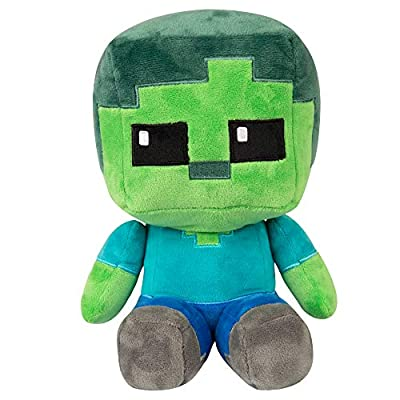 JINX Minecraft Crafter Zombie Plush Stuffed Toy, Multi-Colored, 8.75
